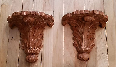 "Pair Of Old Wall Shelves Large Leaf Design - Terra Cotta Color 9""L by 9""W VGC"