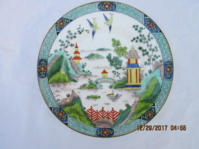 """Crown Staffordshire England, Polycrome Gaudy Blue  Willow 8 1/8"""" Salad  Plate"""
