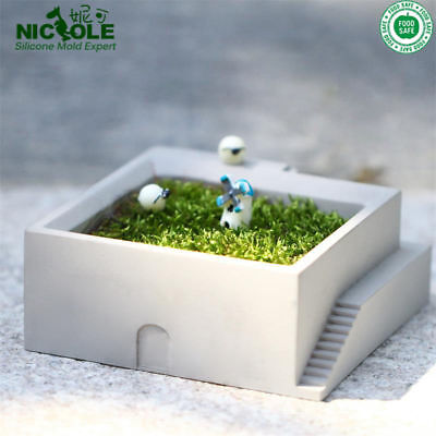 Silicone Molds Flower Pot Square Building with Stairs Shape Concrete Moss Bonsai