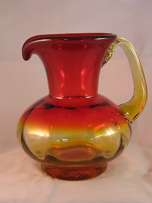 Blenko? Glass Pitcher Jug Ruby Red Amberina hand blown  - Gently Used!