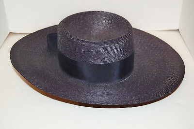 """Vintage Women's Dark Blue Hat by Betmar With Bow Navy Union Made in USA 21.5"""""""