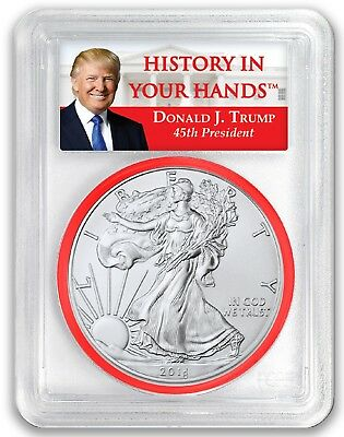2018 1oz Silver Eagle PCGS MS69 - First Day Issue Donald Trump 1 of 1000