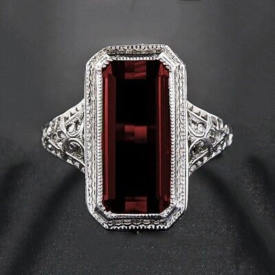 Women Men Huge Princess Cut 8.2CT Ruby 925 Silver Engagement Wedding Ring Sz6-10