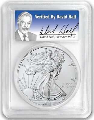2018 1oz Silver Eagle PCGS MS70 - First Day Issue Verified By David Hall