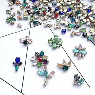 50/100Pcs Mixed Shapes Crystal Rhinestone Glass Bead Settings Claws Sew On Cloth