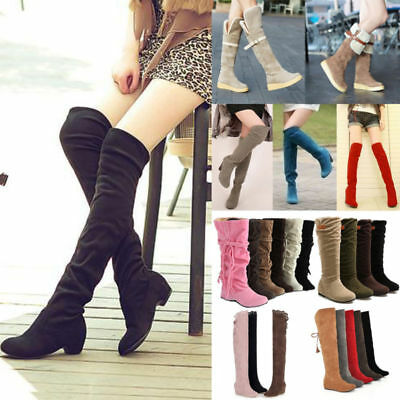 Women Over The Knee High Boots Faux Suede Low Heel Slouch Shoes Fashion Flats