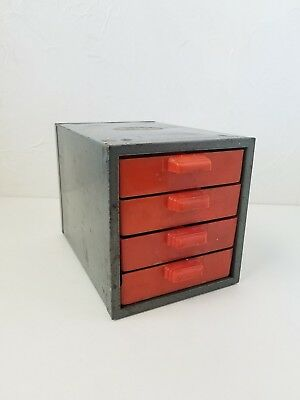 Vintage Craftsman Tools Small Parts Bins Cabinet 4 drawer Metal and Plastic Red