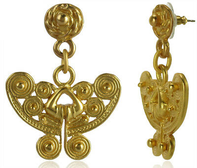 ACROSS THE PUDDLE 24k Gold Plated Spirals Butterfly Earrings