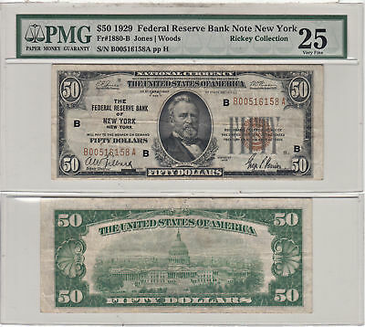 1929 $50 Federal Reserve Bank Note New York F-1880-B PMG Very Fine-25