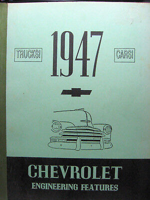 CHEVROLET 1947 ENGINEERING FEATURES Rare Vintage Numbered Car Book!