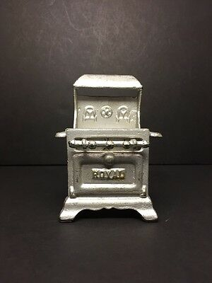 "Vintage 4.5"" Cast Iron Royal Gas Range Dollhouse Miniature Stove, Original Paint"
