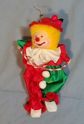 "Vintage Large Circus Clown Ornament Clown with Hula Hoop Fabric 7 1/2"" tall"
