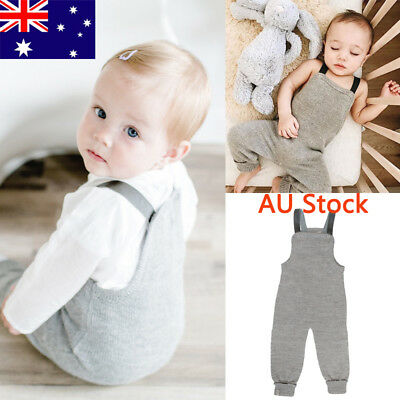 AU Baby Boy Sleeveless Jumpsuit Newborn Kids Sling Outfit Toddler Infant Romper