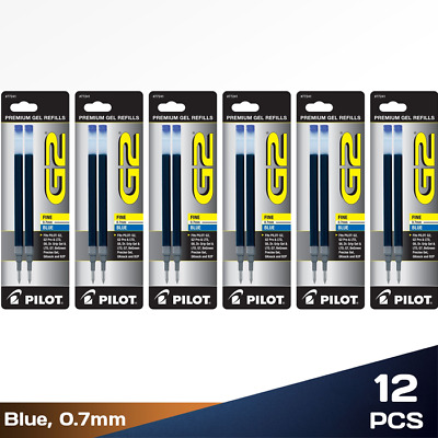 Pack of 12 Pilot G2 0.7mm Dr Grip Rollerball Refills Fine Point Blue Gel Ink Pen