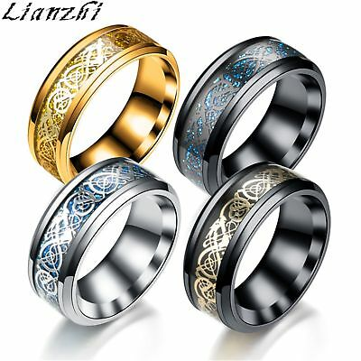 8MM Silvering Celtic Dragon Stainless steel Ring Mens Jewelry men's Lianzhi/FSF
