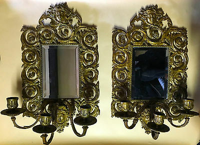 Antique pair of bronze bevel mirror sconces ~ Rare Design ~ faces & scrolls