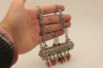 Antique Original Silver Ottoman Filigre Coral Decorated Amazing Necklase
