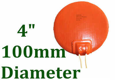 """4"""" 100mm Diameter 12V 50W w/ 3M JSR2 Engine Oil Pan Silicone Rubber Heater"""