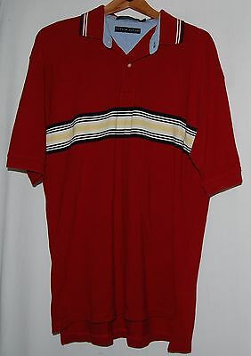 Tommy Hilfiger Mens Polo Shirt Red Blue Yellow White Striped Cotton Xl Rugby