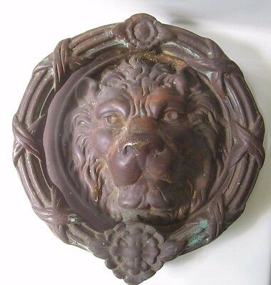 "Antique Vintage Brass Bronze Lion Head Door Knocker Hallmarked 8 1/4""- 9 1/2 lbs"