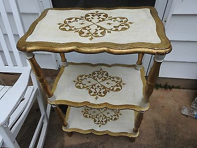 Vintage Florentine Gold White 3 Tier Wooden Shelf Italy Italian Table