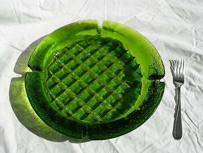 "Vtg 60s MCM  11.5""  BLENKO Green Art GLASS  Cigar ASHTRAY WAFFLE Joel Myers"