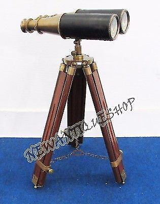 Antique Vintage Binoculars Leather Covered with wooden Tripod Maritime Nautical