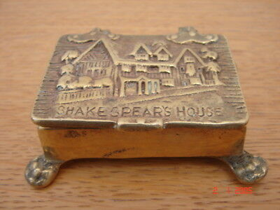 Solid brass William Shakespeare's House lidded box on feet