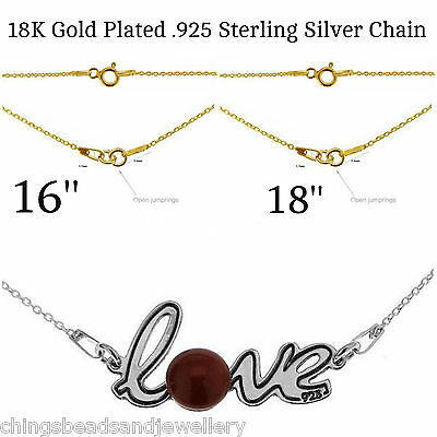 24K Gold Plated Sterling Silver Chain 16'' 18'' Trace Necklace Chain PK1 PK5