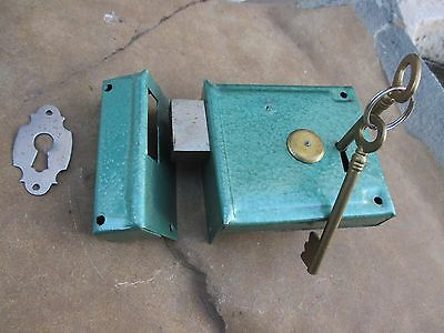 Vintage Unused Box Old Stock Complete Door Lock Key Locking Double Loop Security