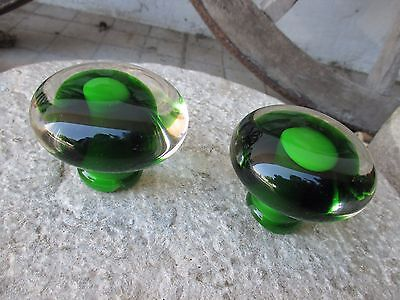 Vintage Large Pair Door Knob Pull in Glass Crystal Murano Beautiful Green Color