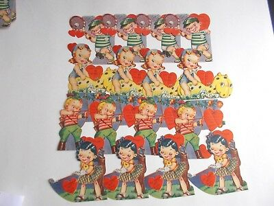 1950's  UNUSED  KID VALENTINES   LOT OF 16    DIE CUT