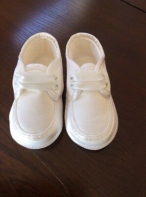 *NEW* Boys White Occasional Shoe By Sarah Louise (UK 3 6-12 Mths) *FREE UK P&P