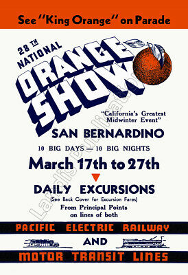 National Orange Show - Pacific Electric Railway - 1938 Advertising Poster