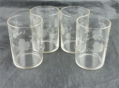 Vintage Water/wine/juice Simple Semi Optic Glass Set 4 Etched Flower Glassware