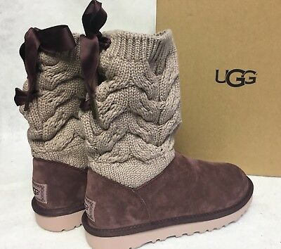 UGG Australia Kiandra Boot 1019059 Cordovan Suede Cable Knit Bow Women's Shoes
