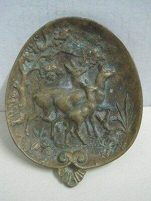 Antique dish or plaque in bronze three deers for decoration