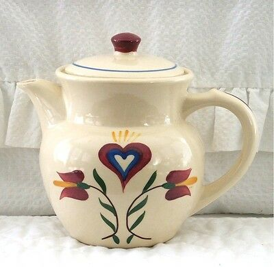 Vintage Shawnee Pennsylvania Dutch  Coffee Pot #52 Tulips & Heart Usa