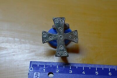 Late Roman/ Byzantine Bronze Cross  Broch/fibula- 10