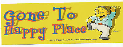 The Simpsons Ralph Wiggum Bumper Sticker Gone To Happy Place Free US Shipping!