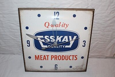 "Vintage c1960 Esskay Meat Products Butcher Shop Gas Oil 15"" Pam Clock Sign~Works"