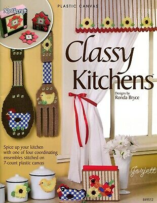Classy Kitchens ~ 4 Coordinating Sets plastic canvas pattern booklet NEW