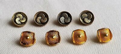 Vintage brass buttons, 2 lots of 4