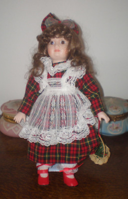 """Large 15"""" Peasant Girl Porcelain Doll In Plaid Dress With Basket On Stand"""