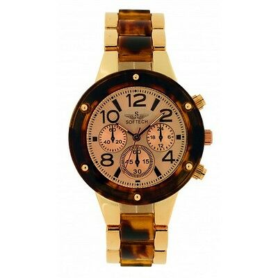 bbfa800fc677 Softech Rose Gold Tortoise Shell Diamante Face Ladies Analog Wrist Watch  Quartz