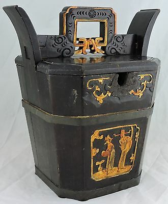 Chinese Asian Wood/metal Rice Bucket/box,gold Painted Mandarin Figurine,famille