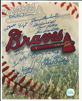 Milwaukee Braves Team Logo Signed Auto 8x10 Photo With 15 Autographs