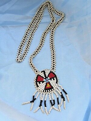 """Eagle with flower design chain Bead Necklace Authentic Tribal 1940s- 22"""" 60cm"""