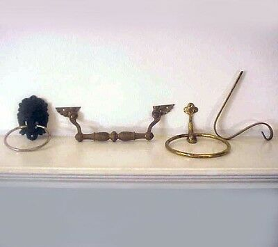 VTG Brass Lot (4) Drawer Pull, Towel Holders, Lion Head, Dolphin and Hook