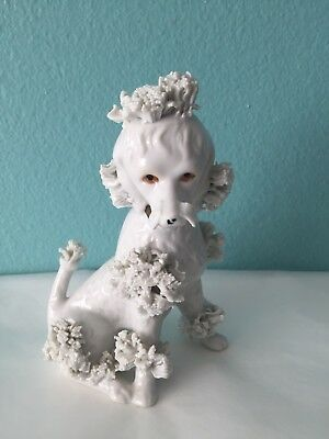 Vintage Ceramic Spaghetti Poodle Dog Figurine in Sitting Pose White Collectable